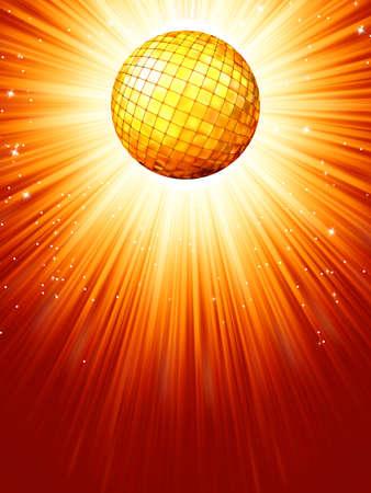 Sparkling orange red disco ball
