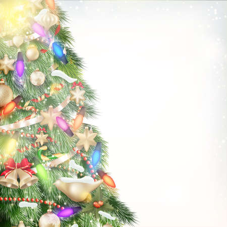 Christmas background of de-focused lights with decorated tree. EPS 10 vector file included