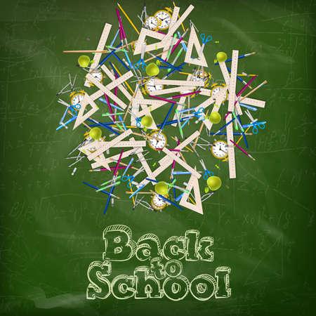 Back to school - blackboard education concept still life.