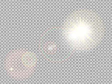 Illustration pour Transparent sunlight special lens flare light effect. Sun flash with rays and spotlight. - image libre de droit