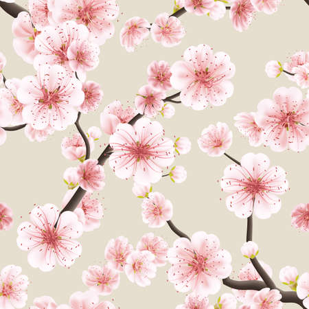 Illustration pour Seamless background pattern of pink Sakura blossom or Japanese flowering cherry symbolic of Spring in a random arrangement square format suitable for textile. - image libre de droit