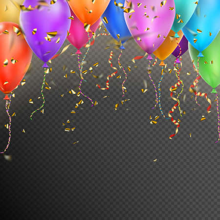 Illustration for Celebration background template with balloons, confetti and red gold ribbons on transparent background.  vector file included - Royalty Free Image