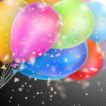 Colorful holiday background with balloons and confetti.
