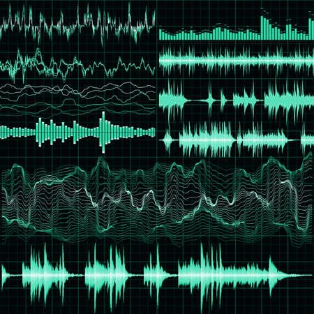 Illustration pour Sound waves set. Music background. EPS 10 vector file included - image libre de droit