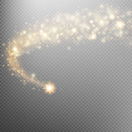 Golden sparkling falling star. Cosmic glittering wave. Gold glittering stars dust trail sparkling particles on transparent background. Space comet tail. EPS 10 vector file included