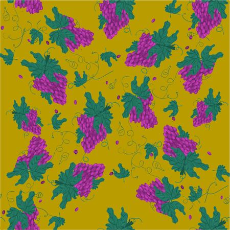 Illustration pour Purple Grapes Illustration - Bunch of purple grapes with stem and leaf - image libre de droit