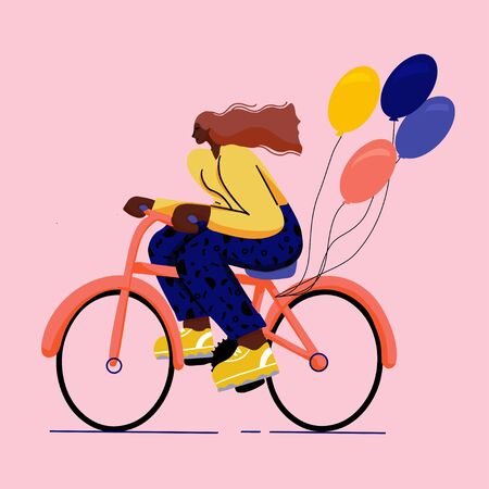 Illustration pour girl on bicycle trendy  colourful flat  style with big shoes - image libre de droit