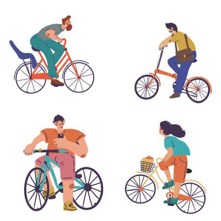 Illustration pour Set of people on different bikes, activity and sport - image libre de droit