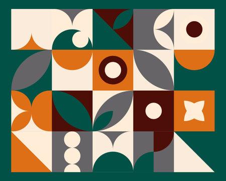 Illustration pour Abstract geometric mural colorful background in Bauhaus style. pattern design - image libre de droit