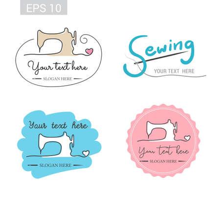 Ilustración de Set of retro garment sewing machine identity badge sticker label for tailor made shop - Imagen libre de derechos