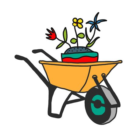 Illustration for garden cart with summer flowers, hand sketch based on vector illustration. On white background. - Royalty Free Image