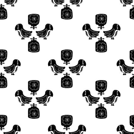 seamlless pattern black and white. flowers and birds are an inspired example of folk art in the Scandinavian style. vector illustration. perfect for decorating postcards, t-shirts or packaging