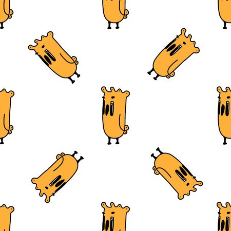 Illustration pour Birds seamless pattern. funny cartoon yellow bird.vector illustration on a white background. for postcards, book characters, children s games, toy design, fabric, design children clothes. Hand-drawn. - image libre de droit