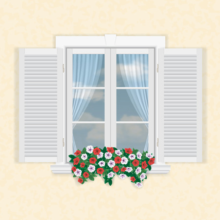 white window with shutters and flowers on beige wall background
