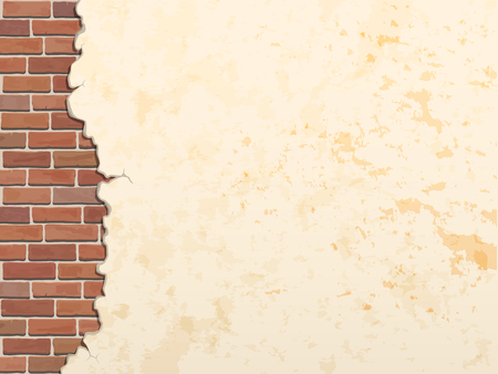 cracked concrete brick wall vintage  vector background