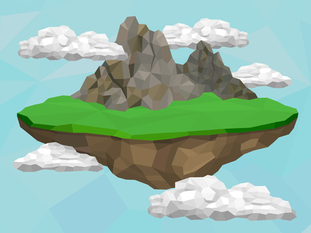 Floating island with mountain and meadow in the sky, vector low poly illustration.