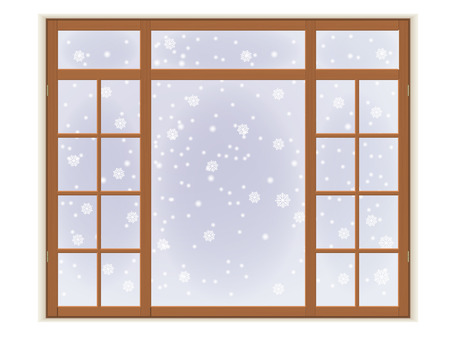 Wooden window with frost and snowflakes. Isolated on white background.