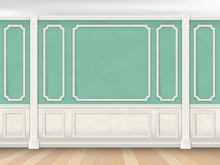 Illustration pour Green wall interior in classical style with pilasters and moldings. Architectural background. - image libre de droit