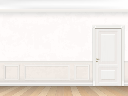 Illustration pour Classic interior in white color with door and wall panel. Vector illustration of the interior. - image libre de droit