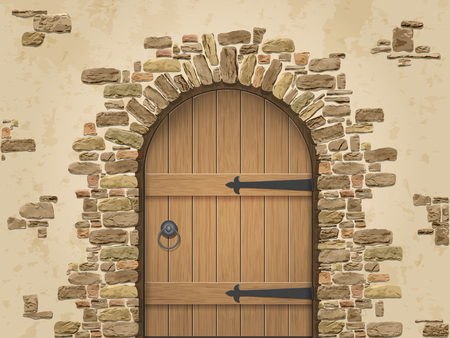 Illustration pour Arch of stone with closed wooden door. Entrance to the wine cellar. - image libre de droit