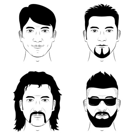 Illustration for A set of drawing human faces with different hairstyles mustache and beard. Vector man portrait. - Royalty Free Image