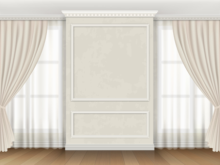Ilustración de Classic interior with panel moldings and windows curtains. - Imagen libre de derechos