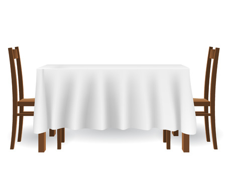 Illustration pour The kitchen table covered with a tablecloth and chairs. piece of furniture and interior decoration, isolated on white background. - image libre de droit