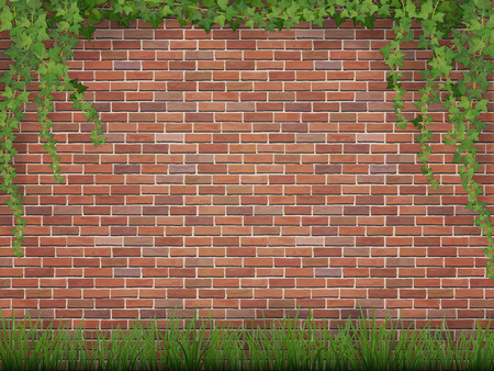 Illustration for Rural background. Ivy and grass on brick wall background. - Royalty Free Image
