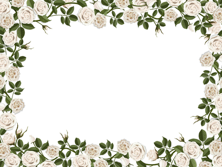 Illustration pour Square border of white roses. Vector decorative floral frame with empty place for text or photo. - image libre de droit