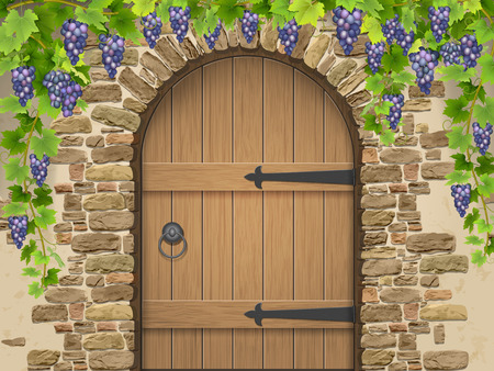 Entrance to the wine cellar decorated with bunches of grapes. Arch of stone wooden door and vine grapes. Vector Illustration about winemaking and viticulture, grape growing.