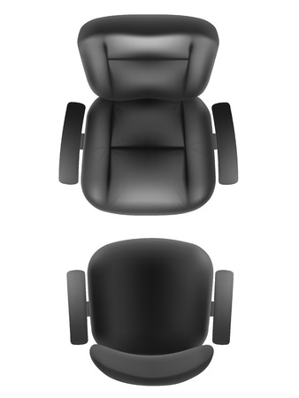 Illustration pour Office chair and boss armchair top view realistic, isolated. Furniture for office, cabinet or conference room plan. - image libre de droit