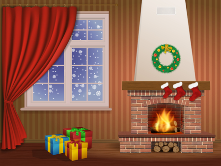 Christmas interior with a fireplace, gifts, and window