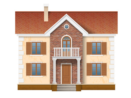 A two story residential house with brick wall and red tile. Entrance to the house is decorated with classical columns.