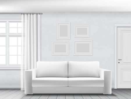 Illustration for Realistic interior of living room with white sofa, window and door. - Royalty Free Image
