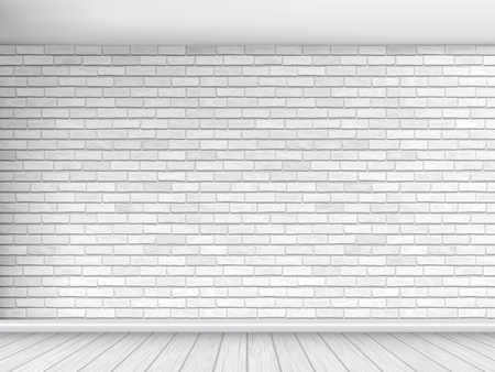 Old wall of white brick with floor and ceiling. Fragment of the interior. Architectural vector background.