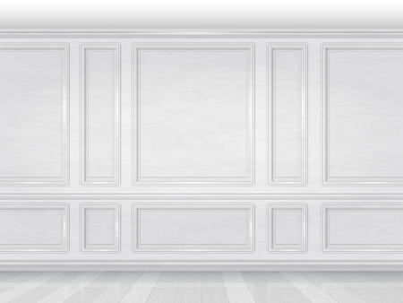 Ilustración de The wall decorated with white wooden panels. Fragment of the classic luxurious interior of the office or living room. Architectural realistic vector background. - Imagen libre de derechos