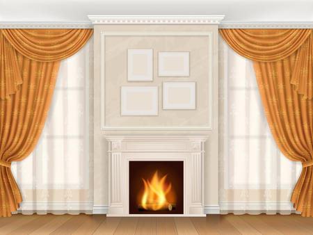 Vector realistic interior of living room in classic style, with fireplace and window.