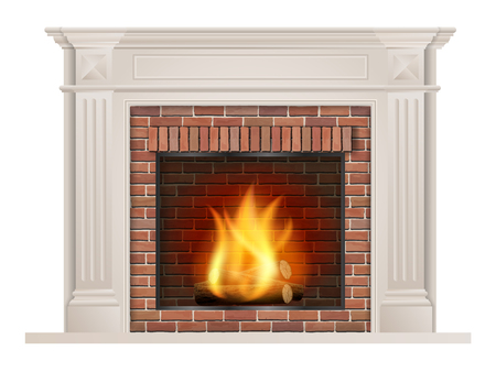 Classic fireplace with pilasters and a furnace with red brick inside.