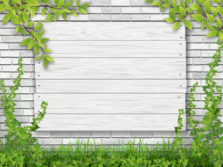 Illustration for White wooden sign nailed to the brick wall overgrown with ivy. Green grass and tree branches in the foreground. - Royalty Free Image