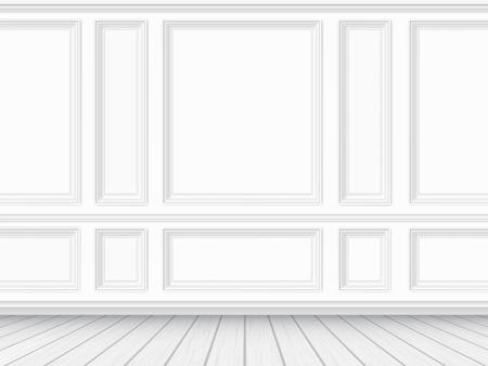 Ilustración de Classic interior of the living room. Parquet floor and white wall decorated with moulding panels. Vector detaled realistic illustration. - Imagen libre de derechos