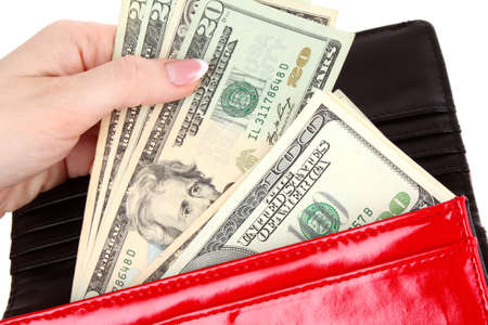 red purse with dollars in the hands on a white background