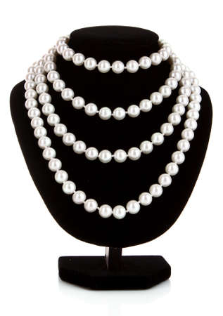 Pearl necklace on black mannequin