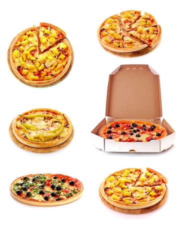 Set of tasty Italian pizza over white