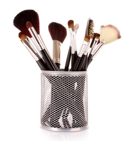 cosmetic brushes in cup white
