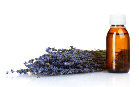 Beautiful lavender and medicine isolated on white