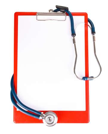 stethoscope and folder isolated on white