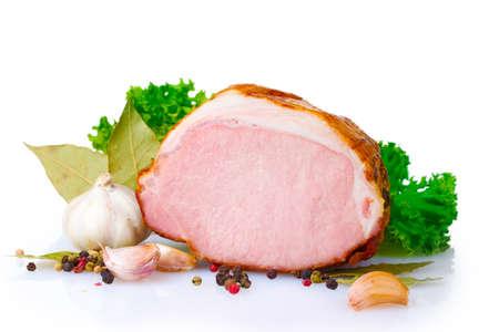 tasty ham isolated on white