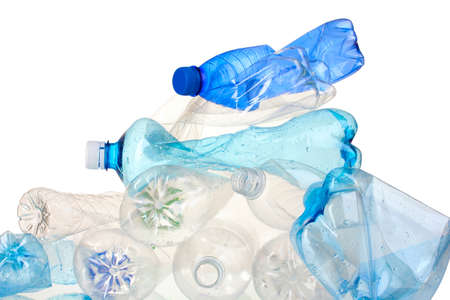 Empty used plastic bottles isolated on white