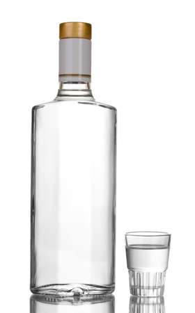 Bottle of vodka and wineglass isolated on white