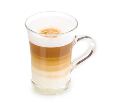 Fragrant �appuccino latte in glass cup isolated on white